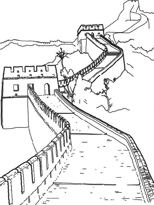 Volwassen Kleurplaat Hart Kids N Fun Kleurplaat Wereld Wonderen Chinese Muur China