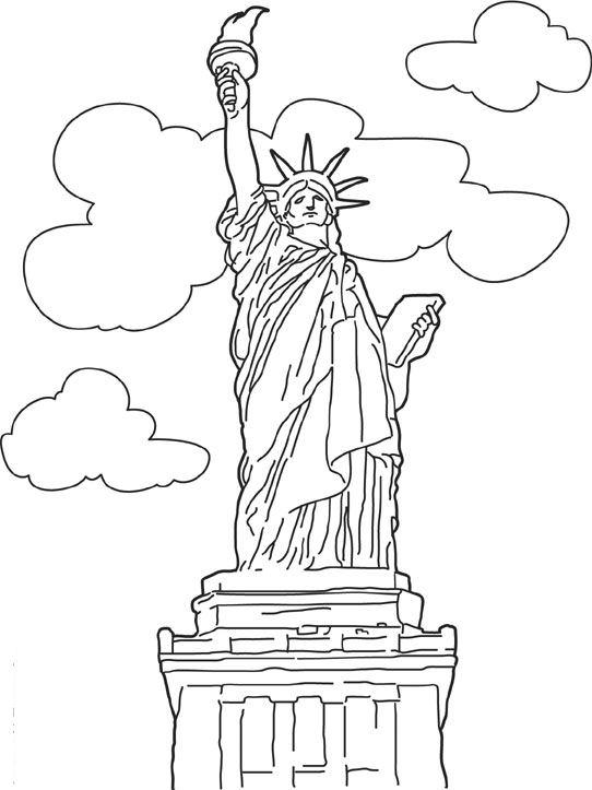 Kids N Fun Kleurplaat Wereld Wonderen Vrijheidsbeeld New York