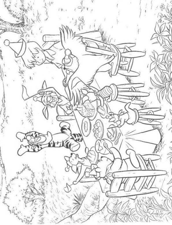 Kids N Fun Kleurplaat Winnie De Pooh Met Z N Alle Aan Tafel