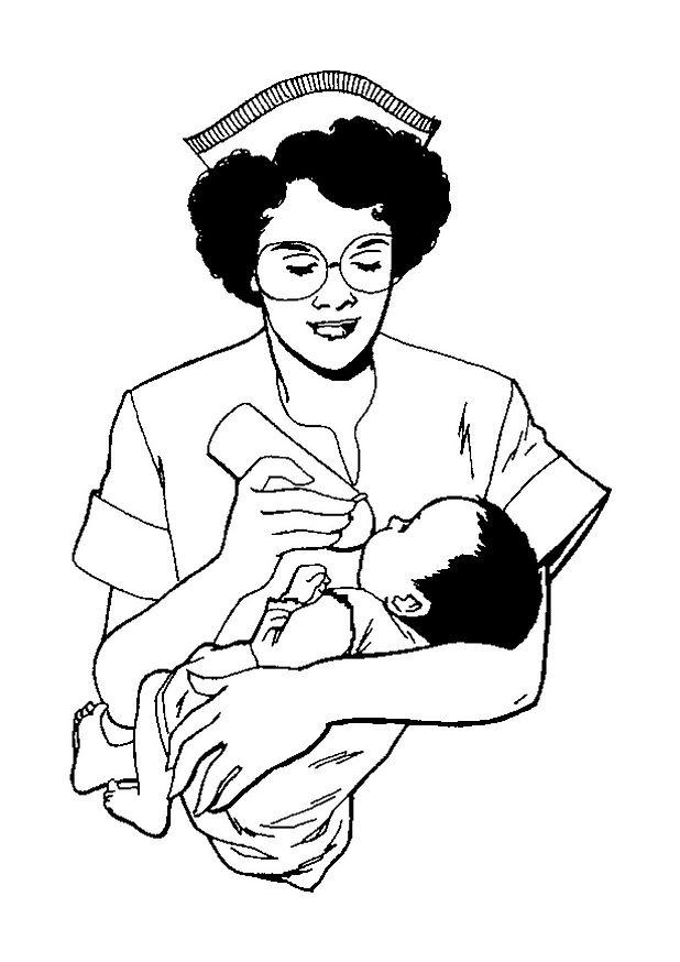 Kids N Fun Kleurplaat Ziekenhuis Verpleegkundige Geeft