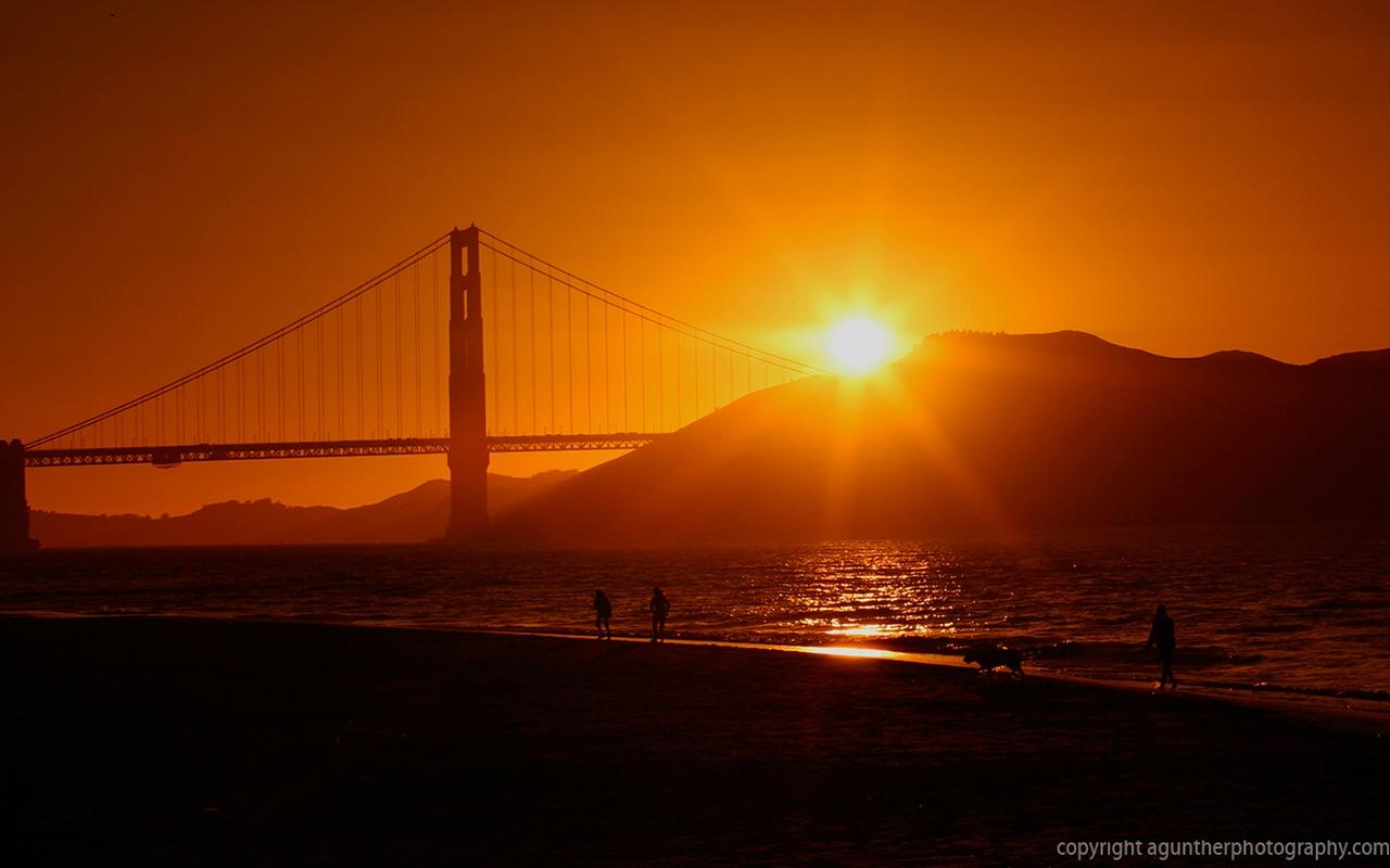 Kleurplaten Zonsondergang.Kids N Fun Wallpaper Diverse Breedbeeld Zonsondergang San Fransisci